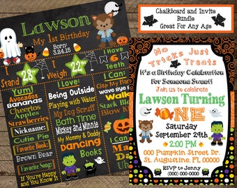 Halloween first birthday chalkboard, halloween invite, halloween invitation, costume birthday, pumpkin, fall, 1st, 2nd, halloween birthday