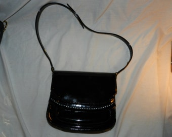 Vintage Nicholas Reich Purse / Handbag - Black Patent leather with Brass colored accents - Shiny Black bag                              26-7
