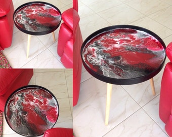 Made to Order Resin Covered Side Table