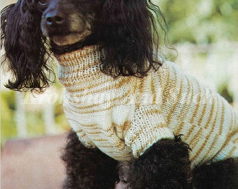 Knitted Small Dog Coat, Knit Pattern, PDF Instant Download.