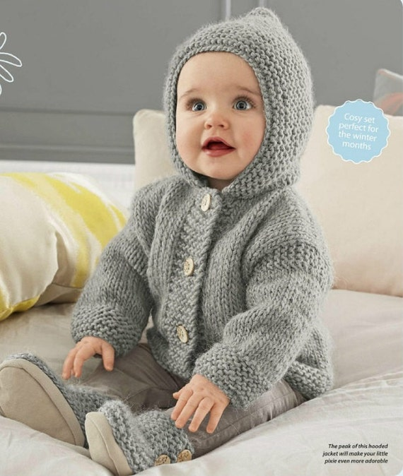 Knitting Pattern Baby Hooded Jacket : Baby Hooded Jacket Chunky Easy Knit Knitting Pattern. PDF