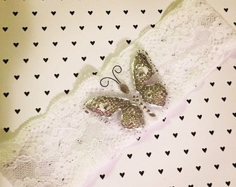 White Lace Headband with Silver Butterfly