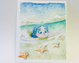Small original watercolor - Illustration - painting - sea star