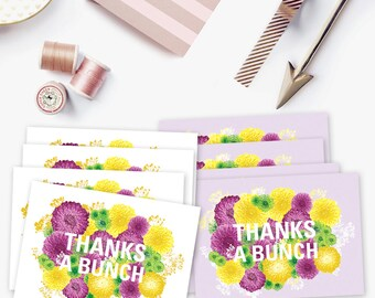 Set of 8 thank you cards, floral thank you card set, summer flowers, thanks a bunch