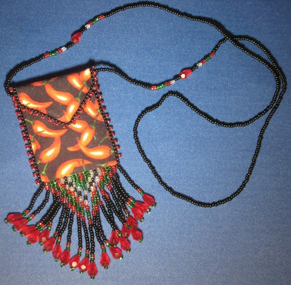Chili Peppers Hand-Beaded Medicine Bag Necklace
