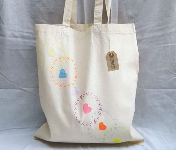 Natural Cotton Tote Shopping Bag Shopper With Handmade Rainbow Heart Stencil Design