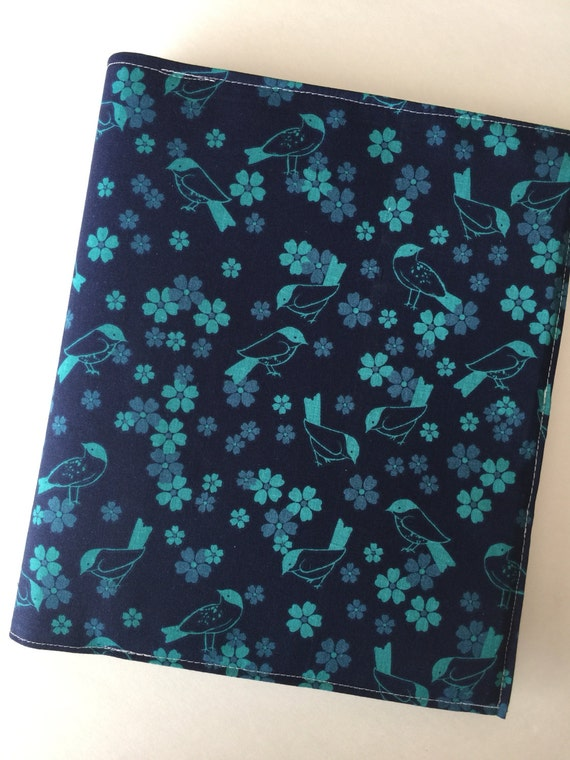 Happy Planner fabric cover - teal and navy birds with teal butterflies