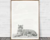Tiger Print, Safari Animal Wall Art, Tiger Wall Art, Nursery Print, Black and White Decor, African Animal Print, Nursery Printable, Photo