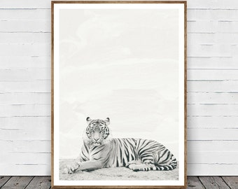 Tiger Print, Safari Animal Wall Art, Tiger Wall Art, Nursery Print, Black and White Decor, African Animal Print, Nursery Printable, Photo