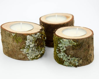 3 Mossy Slim Rustic Candle Holders, Wood Candle Holders for Rustic Wedding, Wedding Candle Decor, Tea Light Holder, Slim Candle Holder