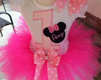 So Affordable Sweet Minnie Mouse Birthday Party Tutu Outfit Dress Set Handmade