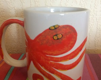 octopus mug with a tentacle as the handle