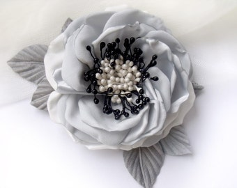brooch flower hair flower, rose handmade hair accessories, romantic style, handmade flower, gray, gray flower,author decoration