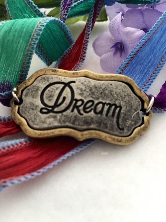 Ribbon Wrap Bracelet - Silk Ribbon Wrap Charm Bracelet - Silk Ribbon Bracelet - Charm Bracelet - Dream Charm Bracelet - Inspirational Charm