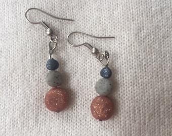 Delicate drop earrings.  Modern polymer clay dangle earrings.