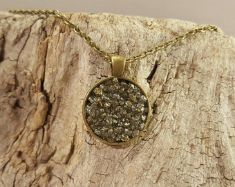 Necklace with pendant and pyrite