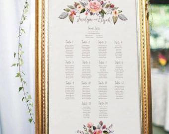 PRINTABLE Guest Seating Sign // Wedding Seating Chart // Boho Wedding // Table Chart // Garden Wedding // Blush Wedding // Wedding Decor