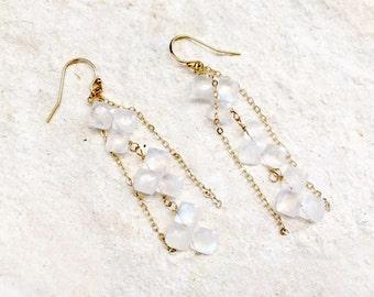 Moonstone Cascade Earrings, 14k gold-fill