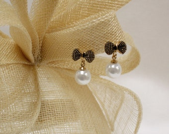 Bow Drop Pearl Earrings in Gold