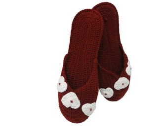 Slippers with white hearts, crochet gift, Valentine's Day