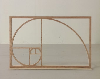 Wooden Fibonacci Sequence Golden Ratio Shelf Decor