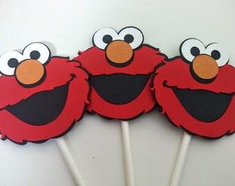 Elmo Cupcake Toppers, Elmo Birthday, Sesame Street, Sesame Street Birthday, Set of 12