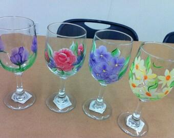 Custom painted wine glasses