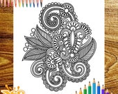 Adult Printable Coloring Page, Paisley Pattern Zentangle Coloring Book, Paisley Coloring Page, Instant PDF Download