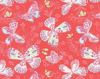 Moda Fabric  - Aria by Kate Spain - Stock #27230 - A Garden of Butterflies Fluttering By - Pink - Cotton fabric by the yard