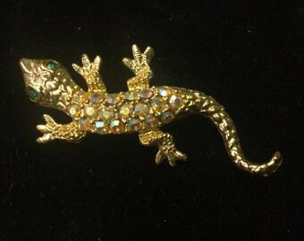 Vintage Brooch Goldtone Salamander, Multi Color, Green