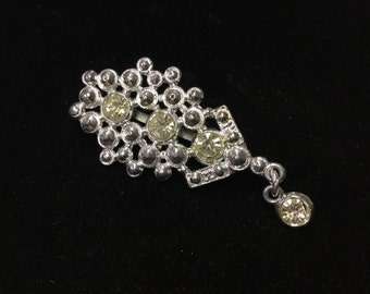 Vintage Brooch, Silvertone, Pale Yellow Crystal Like Beads