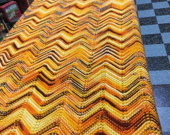 Vintage Chevron Pattern  Afghan, Orange, Yellows & Browns!