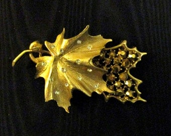 Goldtone Leaf Brooch