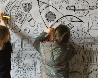 SPACE FINAL FRONTIER - Children's Giant colouring poster -Birthday