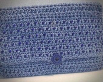 Beaded clutch Blue clutch purse Blue lined clutch Cotton clutch Crocheted beaded clutch