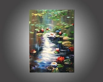 Oil painting, Landscape, Nature, Water lilies, Canvas, Palette knife, Free shipping!