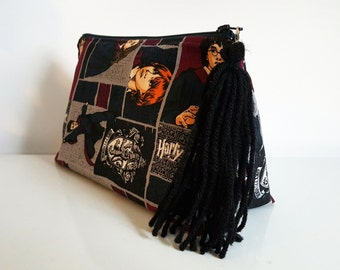 Harry Potter print Cosmetic Bag, Makeup bag, Zip Pouch, Toiletry Bag, Travel Bag, Large cosmetic bag