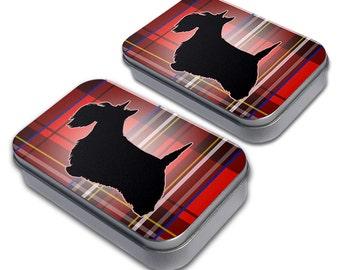 Scottie Dog on Red Plaid Scottish Terrier Craft Trinket Metal Tin Box Set of 2