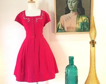 RESERVED do not purchase                  1960s vintage dress, linen dirndl by Johanna Rappel