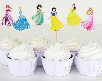 Disney Princess Cupcake Double-Sided Toppers/Food Picks Party Decorating Favor Set of 24