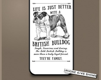 British Bulldog dog phone case cover iPhone Samsung ~ Can be Personalised