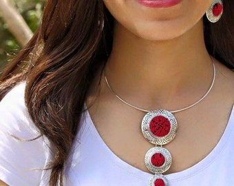 Handmade Red and Black Palestinian Embroidery Circles Necklace and Earrings Set
