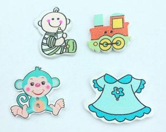 Nursery Assorted Button Lot - Flat Back Buttons - Scrapbook Buttons, craft Supplies, Embellishment Wood Buttons - Shankless Buttons
