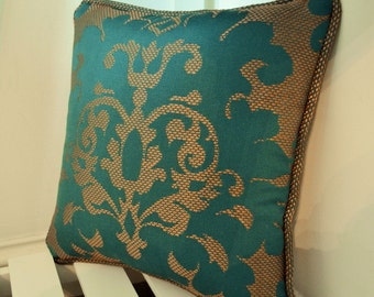 Teal and Bronze Damask Cushion