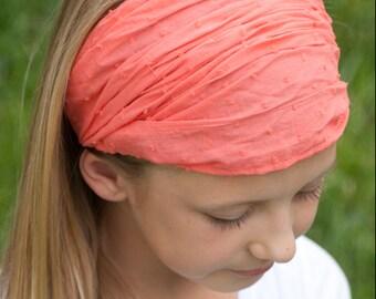 Girl's Extra Wide Headband, Girls Head Scarf, Alopecia Hair Scarf, Hair Loss Head Wrap, Trichotillomania Headband, Girl's Headscarves