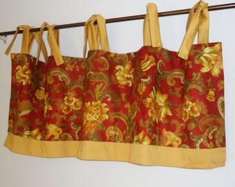 Mill Creek Red and Gold Tie Top Valance with Banding, Jacobean Damask