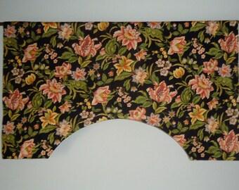 Mill Creek Black Damask Jacobean Floral Custom Valance, Noir, Night