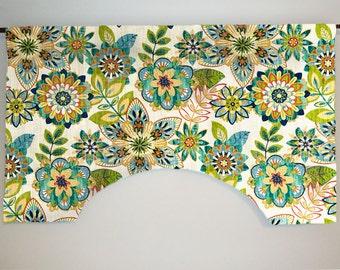 Richloom Trendi Opal  Custom Valance Curtain, Large Floral, Lined