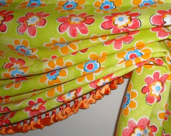 Pink and Green London Valance with Trim