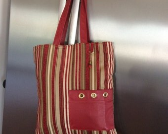 Stylish Carry All Tote Bag Red Stripe